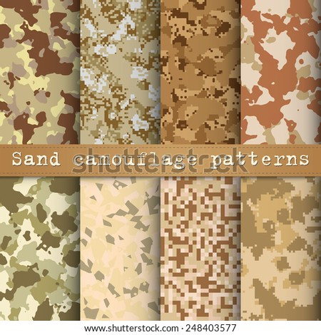 Set of 8 sand camouflage patterns vector - stock vector