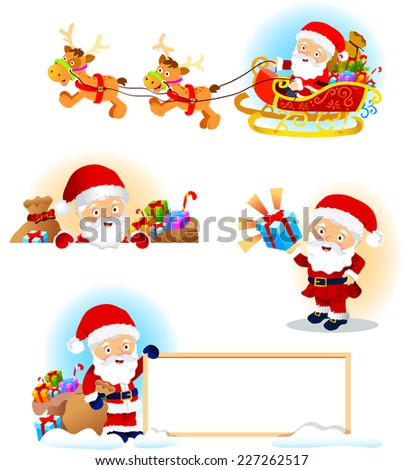 Set of Santa Clauses illustration  - stock vector