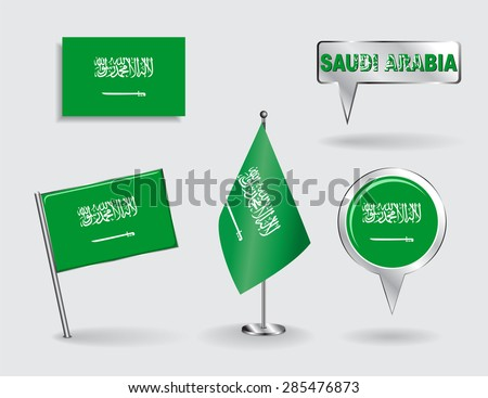 Set of Saudi Arabian pin, icon and map pointer flags. Vector illustration. - stock vector