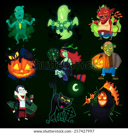 Set of scary halloween characters with seamless pattern at background. EPS 10  - stock vector