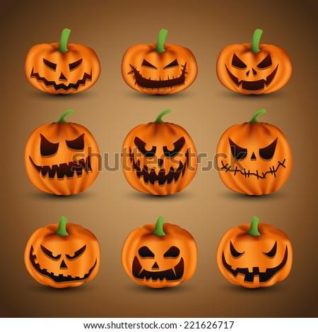 Set of Scary Halloween Pumpkins - stock vector