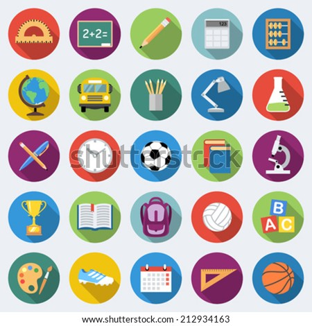 Set of school education icons in flat design with long shadows - stock vector