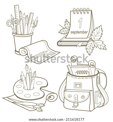 Set of school icons. Back To School. Vector Illustrations - stock vector