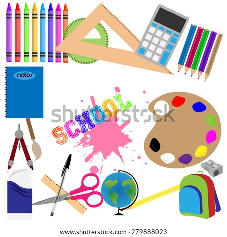 Set of school supplies on a white background. Vector illustration - stock vector