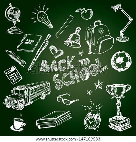Set of school symbols on a green school chalkboard.Vector illustration. - stock vector