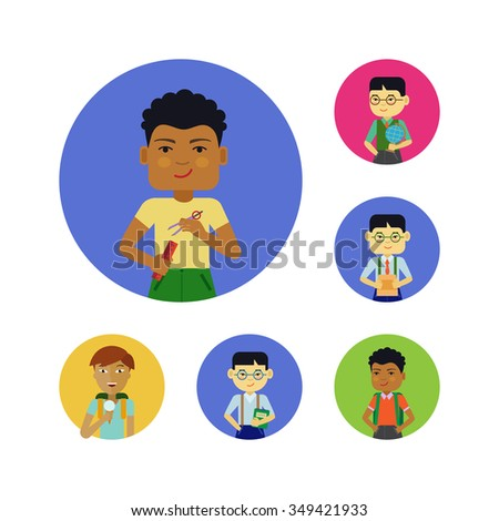 Set of schoolboys characters of various ethnicity, age, holding different objects  - stock vector