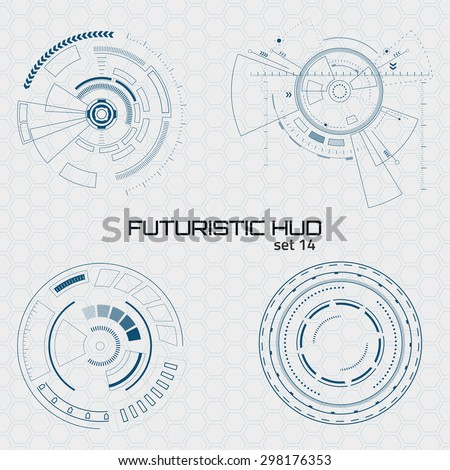 Set of sci fi futuristic user interfaces on grey background. Vector illustration. - stock vector