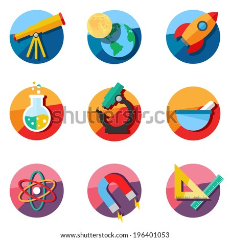 Set of science icons. Astronomy, chemistry, physics, maths. - stock vector