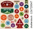 Set of scout badges and merit badges for outdoor activities - stock vector