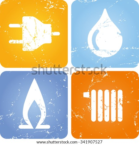 Set of 4 scratched Symbols Power, Water, Gas, Heating - stock vector