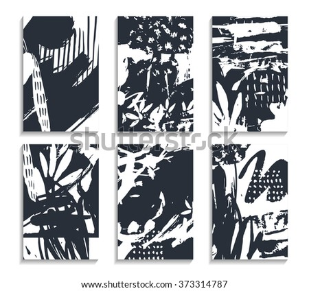 Set of scribble hand drawn black and white cards. Freehand template for wallpaper, business. Abstract , rough, dirty backgrounds. Pastel vector graffiti patterns for placards, posters, banners, flyers - stock vector