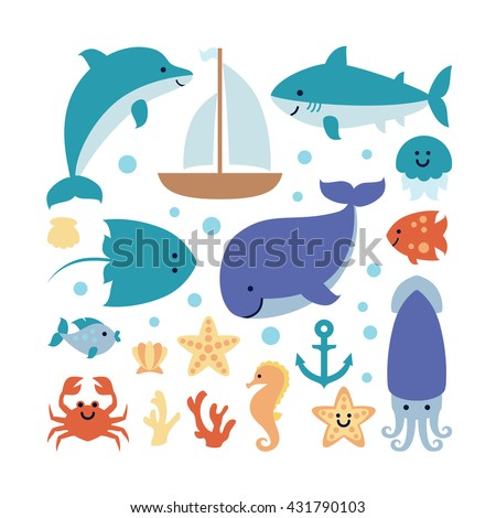Set of sea theme isolated on white background. Image of cute animals dolphin, shark, whale, fish, crab, seahorse, starfish, jellyfish, squid, crampfish, seashell, coral, boat, anchor. Vector. - stock vector