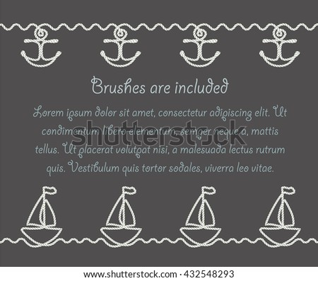 Set of sea themed borders made of nautical rope. Whale, boat and wave decorative summer border patterns. - stock vector