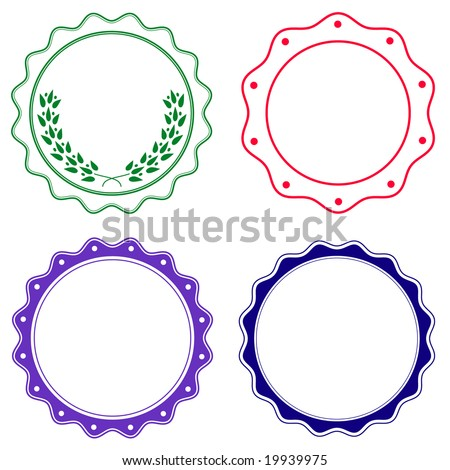 Set of seals or stickers with soft wavy edge in colors. - stock vector