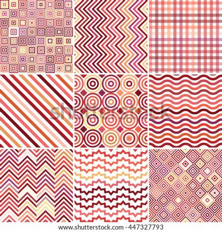 Set of seamless abstract background, 9 geometric pattern, vector illustration. Red, pink, orange, yellow colors. Texture can be used for printing onto fabric and paper  - stock vector