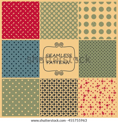 Set of 9 seamless abstract patterns in retro colors for design, Website, background, banner. Vintage patterns for wallpaper, wrapping paper, invitation card or textile. Vector Illustration   - stock vector