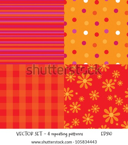 Set of 4 seamless background patterns in autumn colors. Great for textiles and surface textures, scrap-booking, greeting cards, gift wrap, wallpapers. See my portfolio for JPEG versions. - stock vector