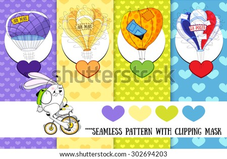 Set of seamless background with clipping mask and white bunny on bicycle, retro air baloon and colorful hearts. Set for postcard - stock vector
