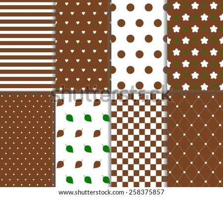 Set of seamless big and small polka dot, lined textile, leaves, heart, flower, chess board and stripes pattern in brown, green and white color. Vector art image illustration background, simple design - stock vector