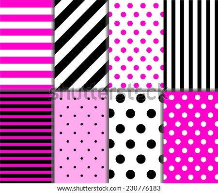 Set of seamless big and small polka dots, lined textile with large and small lines and diagonal stripes in deep and light pink, black and white color. Vector art image illustration background pattern - stock vector