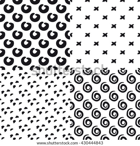 Set of  seamless black and white hand drawn pattern. Black and white doodle  background. Doodle dots, spiral, circle and cross. - stock vector
