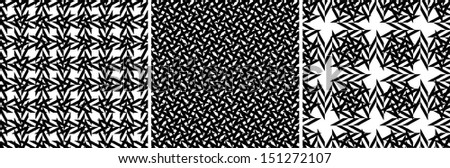 Set of seamless black and white  patterns  - stock vector