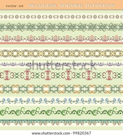 Set of seamless border patterns, brushes included. - stock vector