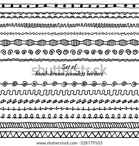 Set of seamless borders. Hand drawn doodle design elements. Floral elements for your design. Vector illustration. - stock vector