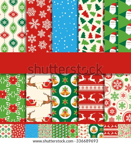 Set of 10 Seamless Bright Fun Christmas Patterns - stock vector
