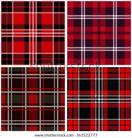 Set of 4 seamless checkered vector patterns. Red and black Scottish tartans with white stripes. Retro textile collection. Backgrounds & textures shop. - stock vector