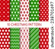 Set of seamless christmas patterns. Holiday backgrounds for Christmas and New Year. Green, red colors. Winter wallpapers. Vector illustration. Swatches of seamless patterns included in the file. - stock vector