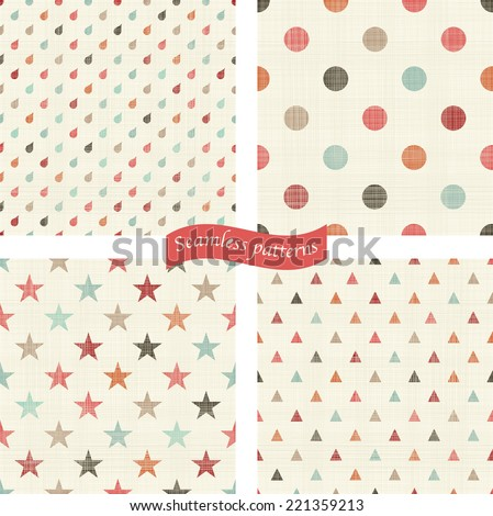 set of 4 seamless colorful polka dots patterns with fabric texture  - stock vector