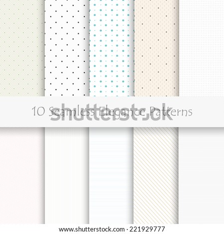 Set of 10 seamless elegance patterns, light colors, eps10 - stock vector
