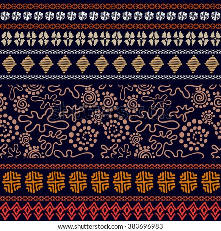 Set of seamless ethnic borders. Aboriginal arts motifs, hand drawn doodles, geometric prints. Fantasy trees, pagan drawings. Abstract vector pattern. Safari textile collection. Dark blue, golden, red. - stock vector