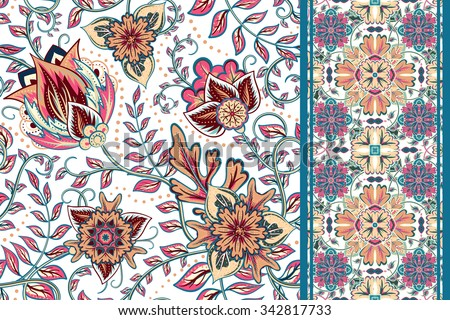 Set of seamless floral pattern and border for design. Hand draw vector Illustration. Seamless background with flowers. - stock vector