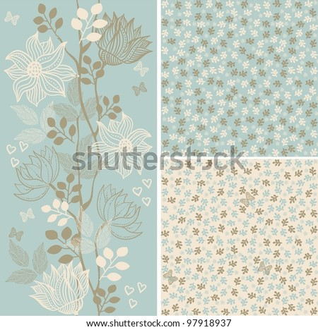 set of 3 seamless floral patterns - stock vector