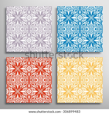 Set of seamless geometric and floral patterns, abstract hand drawn background collection, repeating fabric lace texture, vector illustration - stock vector