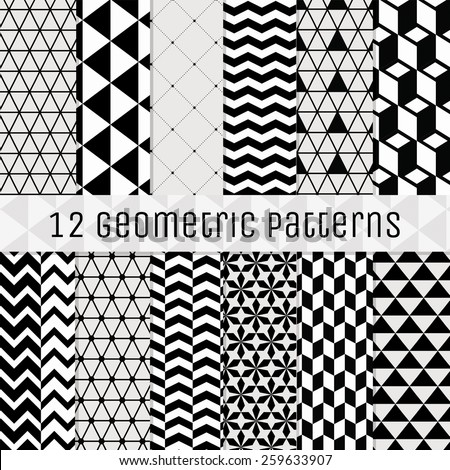Set of 12 Seamless Geometric Background Patterns. Black with Transparent BG. Fully Editable with Pattern Swatches. Vector Illustration - stock vector