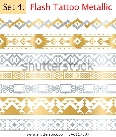 Set of Seamless Gold and Silver Tribal Ornaments. Flash Tattoo Ethnic Patterns. Seamless Aztec Flash Tattoo Metallic Elements on Transparent Backgournd. Vector Illustration - stock vector