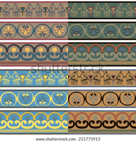Set of seamless Greek patterns of different colors. Vector illustration. - stock vector
