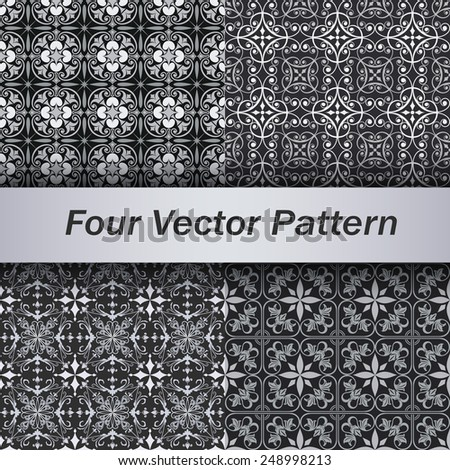 Set of 4 seamless grey floral vector patterns. - stock vector