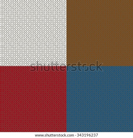 Set of seamless knited patterns. Set of winter holiday backgrounds. Collection of seamless patterns with red, white, blue and brown colors. Used for  wrap, textile, paper. Merry Christmas and Happy - stock vector