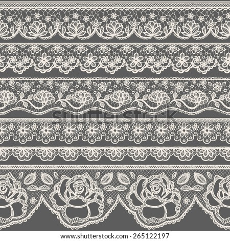 Set of seamless lace borders - stock vector