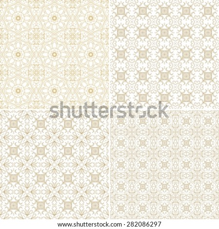 Set of seamless laced patterns - stock vector
