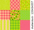 Set of seamless New Year patterns: polka dot, scottish plaid, hearts and other. - stock vector