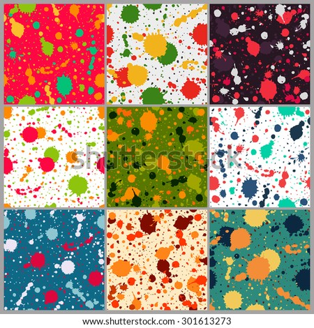 Set of seamless paint splatter patterns. Grunge spotted backgrounds with paint blobs. Collection of seamless paint splashes backdrops. Colorful repetitive textile pattern collection. EPS10. - stock vector