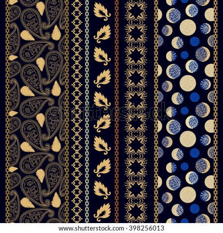 Set of seamless paisley borders with bohemian motifs. Hand drawn paisley pattern, leaves, damask borders, crescent moon drawings. Ethnic textile collection. Golden, silver shadows on dark blue.   - stock vector