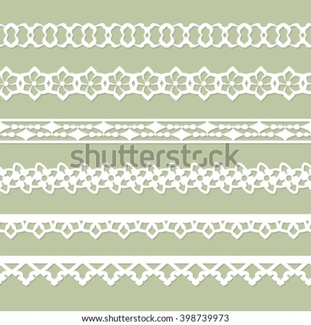 set of seamless paper laces on the green background - stock vector