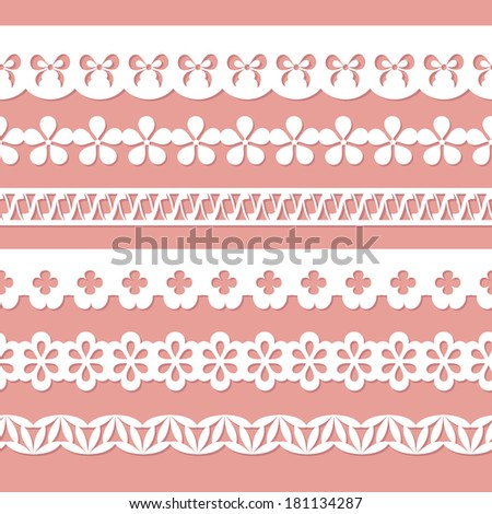 set of seamless paper laces on the pink background - stock vector