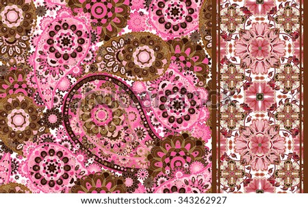 Set of seamless pattern based on traditional Asian elements Paisley and striped. Vector colorful background. - stock vector